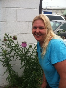Jennifer by a Blooming Thistle